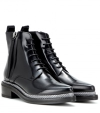 Acne Studios Linden Leather And Snakeskin Ankle Boots Black