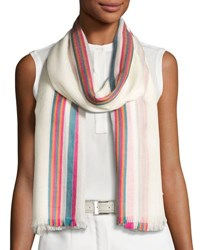 Loro Piana Shadow Striped Cashmere And Silk Stole White