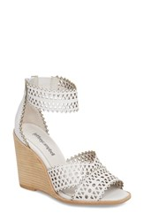 934d74c77e2 Jeffrey Campbell Besante Perforated Wedge Sandal White