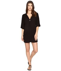 Trina Turk Santiago Solid Tunic Cover Up Black Women's Swimwear