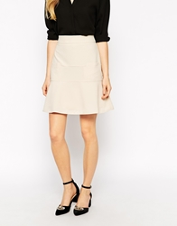 Jovonna Mystic Midi Skirt With Fluted Hem Cream