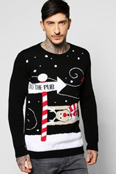 Boohoo And Reindeer Christmas Jumper Black