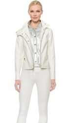 Veronica Beard Funnel Neck Jacket With Silver Dickey White