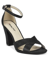 Rialto Raziela Ankle Strap Dress Sandals Women's Shoes Black Glitter