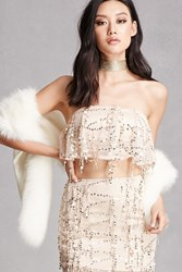 Forever 21 Sequined Crop Top And Skirt Set Gold