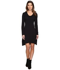Mod O Doc Cotton Modal Spandex Jersey Crossover Hem Dress Black Women's Dress