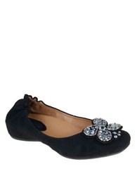 Earthies Vardo Suede Flats With Crystal Detail Black Suede