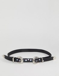 Johnny Loves Rosie Embroidered Floral Western Belt Black