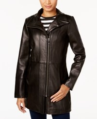 Cole Haan Asymmetrical Leather Jacket Black