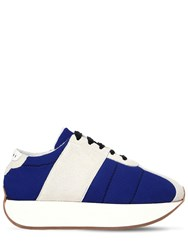 Marni 40Mm Suede And Mesh Platform Sneakers Off White Blue