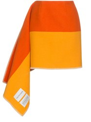 Calvin Klein 205W39nyc Ck Skrt Asym Check Blanket Skirt W Whips Yellow And Orange
