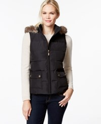 Charter Club Hooded Quilted Vest Faux Fur Trim Only At Macy's Deep Black