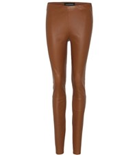 By Malene Birger Elenasoo Leather Trousers Brown