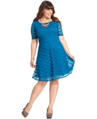 Love Squared Plus Size Short Sleeve Lace A Line Dress Teal
