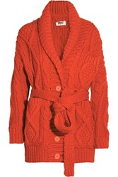 Maison Martin Margiela Chunky Knit Wool Blend Cardigan Red