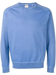 Massimo Alba Ribbed Trim Jumper Blue