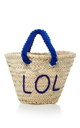 Poolside L'petit Embroidered Straw Tote Blue