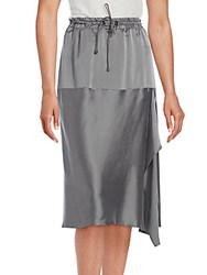 Brunello Cucinelli Solid Mid Length Silk Skirt Grey