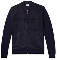 Brioni Slim Fit Suede And Virgin Wool Bomber Jacket Navy