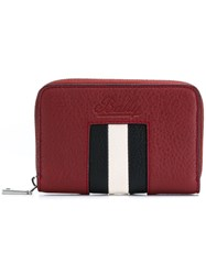 Bally Stripe Wallet Red