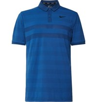 Nike Golf Striped Zonal Cooling Jersey And Mesh Golf Polo Shirt Blue