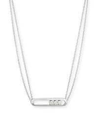 Messika Move Two Strand Diamond Bezel Pendant Necklace In 18K White Gold