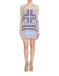 1.State Patterned Double Layer Dress Blue