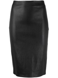 Theory Faux Leather Pencil Skirt Black