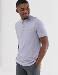 Ted Baker Polo Shirt In Grey With Slub Texture