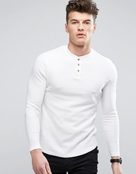 D Struct Henley Long Sleeve Top White