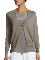 Peserico Leather Buckle Open Cardigan Dark Taupe
