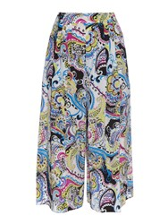 Etro Paisley Print Wide Leg Cropped Silk Trousers