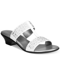 Karen Scott Eddina Embellished Slide Sandals Only At Macy's Women's Shoes White