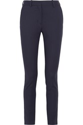 Victoria Beckham Pinstriped Twill Slim Leg Pants Navy
