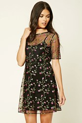 Forever 21 Contemporary Floral Mesh Dress Black Pink