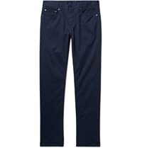 Michael Kors Slim Fit Brushed Stretch Cotton Twill Trousers Navy