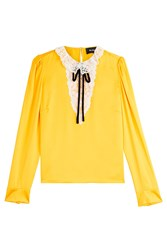 The Kooples Silk Blouse With Lace Yellow
