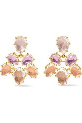 Larkspur And Hawk Caterina Gold Dipped Quartz Earrings Lilac