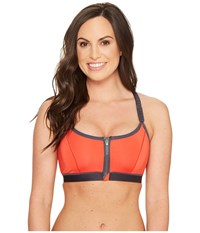 Natori Yogi Wireless Racerback Sport Bra 736050 Tiger Lily Iron Grey Women's Bra Orange