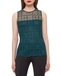 Akris Illusion Crewneck Lace Shell Black