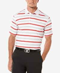 Callaway Men's Performance Striped Golf Polo White Orange