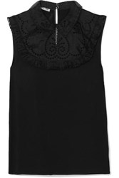 Miu Miu Ruffled Crepe And Broderie Anglaise Silk Blouse Black