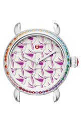 Women's Michele 'Exotic Creatures' Bracelet Watch Case 36Mm Silver Multi Bird