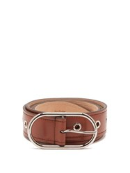 Acne Studios Masculine Large Logo Buckle Leather Belt Tan