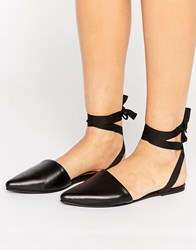 Park Lane Tie Ankle Point Shoe Black Leather