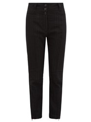 Ann Demeulemeester Stripe Woven Slim Leg Trousers Black