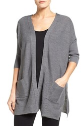 Wit And Wisdom Women's Lace Up Back Cardigan Charcoal