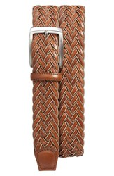 Torino Belts Men's Big And Tall Braided Leather Belt Tan Cognac