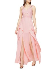 Bcbgmaxazria Juliana Cutout Ruffle Gown Light Shell