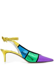 Attico Colour Block Pumps Purple